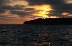 Solnedgång över Stilla havet Arkivfoton