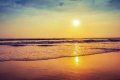 Solnedgång över stranden och det tropiska havet Indien Royaltyfria Foton
