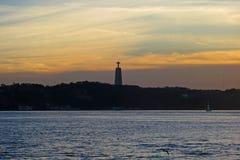 Solnedgång över Tagus, Lissabon, Portugal Fotografering för Bildbyråer