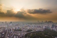 Solnedgång över Tokyo Arkivfoton