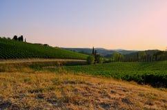 Solnedgång över Tuscan bygd - Italien Royaltyfria Foton