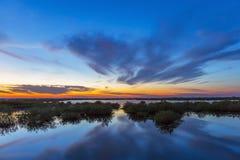 Solnedgång över vatten - Merritt Island Wildlife Refuge, Florida royaltyfria foton