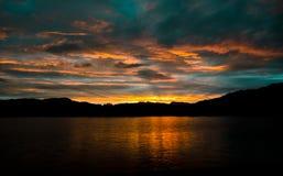 Solnedgång över Windermere Royaltyfria Foton