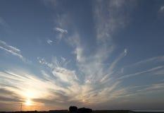 Solnedgång över Zeeland Arkivfoton