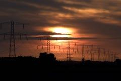 Solnedgång över Zeeland Arkivbild