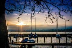 Solnedgång över Zurich sjön Arkivbild