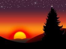 solnedgång 3 Royaltyfri Illustrationer