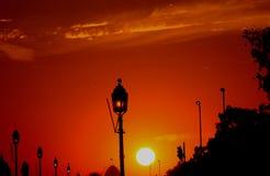 Solnedgång! Arkivfoto