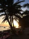 Solnedgång Alona Beach, Panglao Filippinerna Fotografering för Bildbyråer