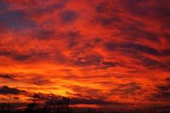 Solnedgång av brand Arkivfoto