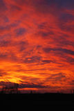 Solnedgång av brand Arkivfoton