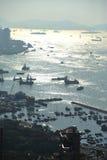 Solnedgång av den Victoria hamnen royaltyfri bild