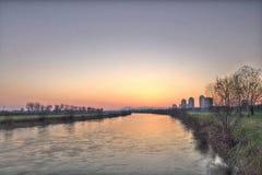 Solnedgång av flodsavaen Royaltyfria Foton