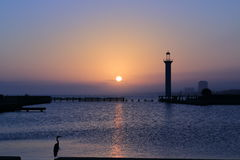 Solnedgång av Gulf Coast royaltyfri fotografi
