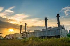 Solnedgång av kraftstationen royaltyfri fotografi