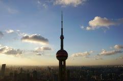 Solnedgång av Shanghai Fotografering för Bildbyråer