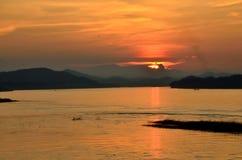 Solnedgång av skuggaberget Royaltyfri Fotografi