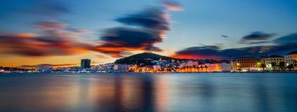 Solnedgång av splittring, Kroatien royaltyfri bild