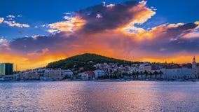 Solnedgång av splittring, Kroatien Royaltyfri Foto