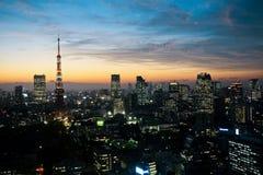 Solnedgång av Tokyo Arkivfoton