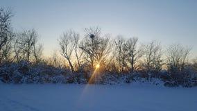 Solnedgång av vintern Royaltyfri Bild