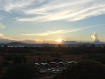 Solnedgång Bagan arkivfoto