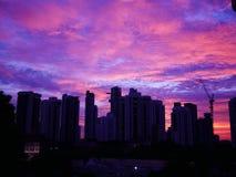 Solnedgång bak byggnader med härlig molnig himmel fotografering för bildbyråer