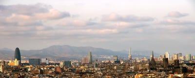 Solnedgång Barcelona spain Arkivfoton