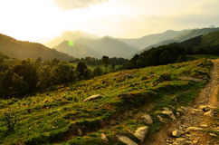Solnedgång berg Arkivfoton
