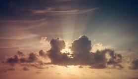 Solnedgång bluen clouds skyen Arkivfoton