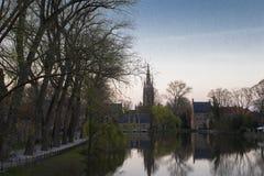 Solnedgång Brugge Royaltyfria Foton