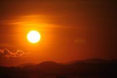 Solnedgång Chiang Khan Thailand Royaltyfri Foto