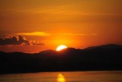 Solnedgång Chiang Khan Thailand Arkivbild