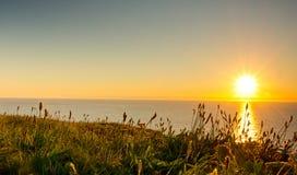 Solnedgång cornwall Arkivbilder