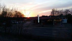 Solnedgång - Cuxhaven Arkivfoto