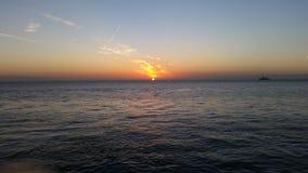 Solnedgång - Cuxhaven Royaltyfria Bilder