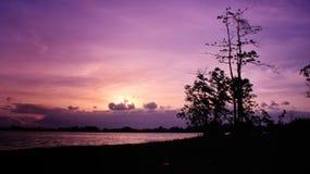 solnedgång di waduk mulur Royaltyfria Foton