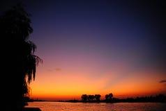 Solnedgång Donaudelta Royaltyfri Bild