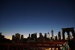 Solnedgång Downton New York Royaltyfri Foto