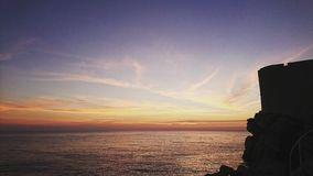 Solnedgång dubrovnik Arkivbild