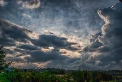Solnedgång efter stormen Fotografering för Bildbyråer