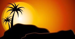 solnedgång för ökenplatssilhouette Royaltyfria Bilder