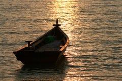solnedgång för 2 fartyg Royaltyfria Bilder