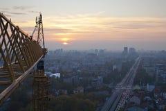 solnedgång för 2 stad Arkivfoto
