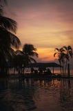 solnedgång för 4 pöl Royaltyfri Fotografi