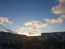 solnedgång för blå sky Royaltyfri Fotografi