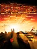Solnedgång för Bremen stadsSilhouette Arkivbild