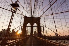 Solnedgång för Brooklyn bro med Manhattan horisont USA Royaltyfria Foton