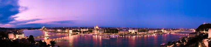 solnedgång för budapest panorama s Arkivfoto