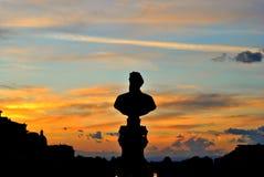 Solnedgång för bysten Arkivfoton